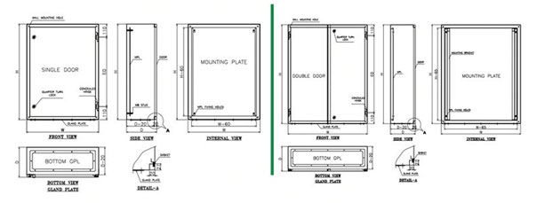 wall mounted metal enclosure ip55  u0026 65  with mounting